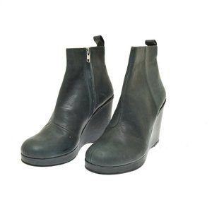 Damir Doma Blue Leather Wedge Heel Women's Boots